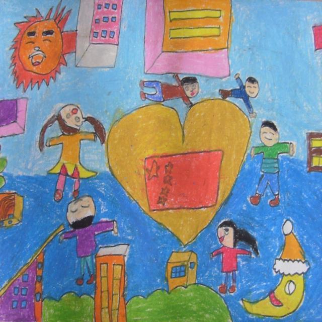 幼儿画祖国风景