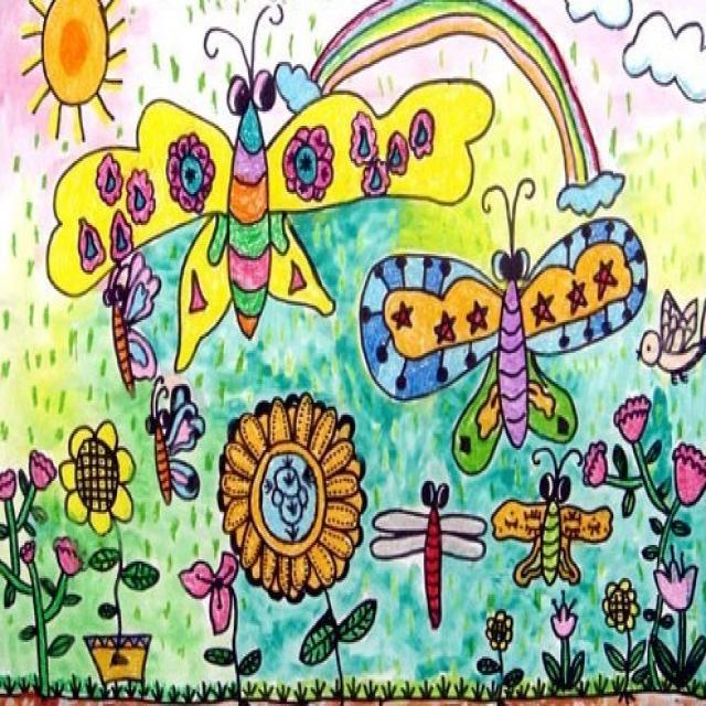 儿童画美丽的花园图片