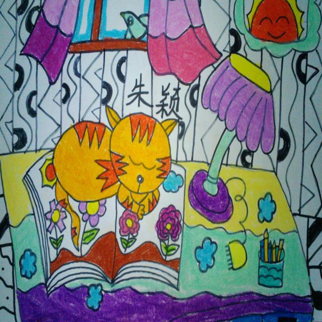 儿童画书房简笔画