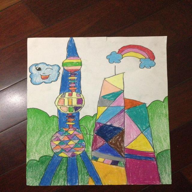 作品以自己的视角画了印象中的上海东方明珠塔和旁边的高楼图片